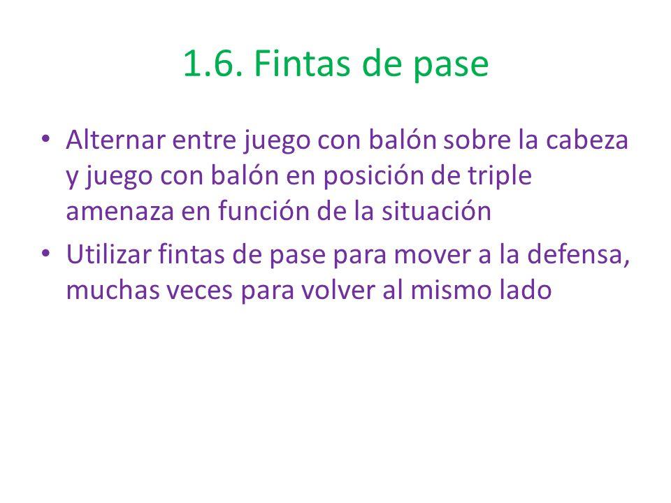 1.6. Fintas de pase Alternar entre juego con balón sobre la cabeza y juego con balón en posición de triple amenaza en función de la situación.