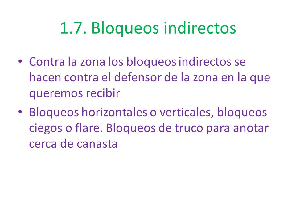 1.7. Bloqueos indirectos Contra la zona los bloqueos indirectos se hacen contra el defensor de la zona en la que queremos recibir.
