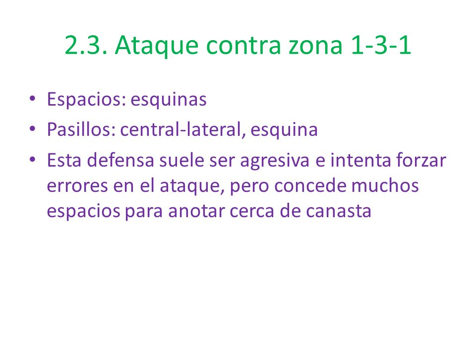 2.3. Ataque contra zona 1-3-1 Espacios: esquinas