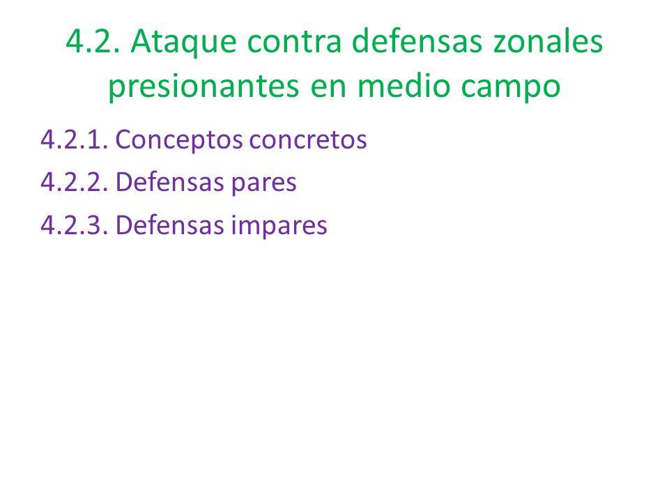 4.2. Ataque contra defensas zonales presionantes en medio campo