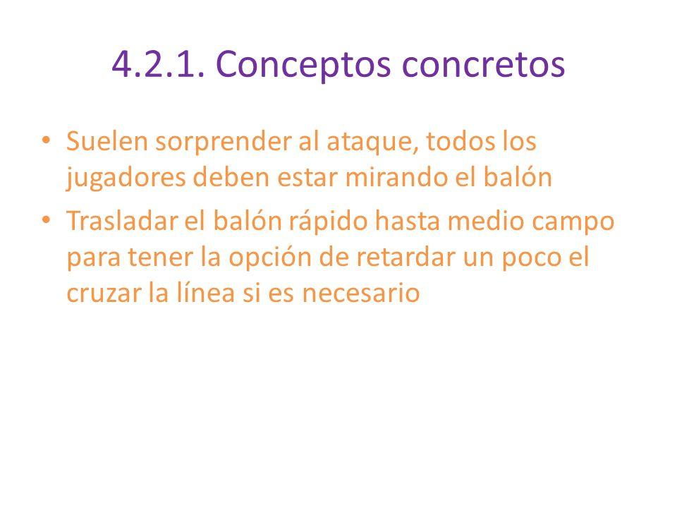 4.2.1. Conceptos concretos Suelen sorprender al ataque, todos los jugadores deben estar mirando el balón.