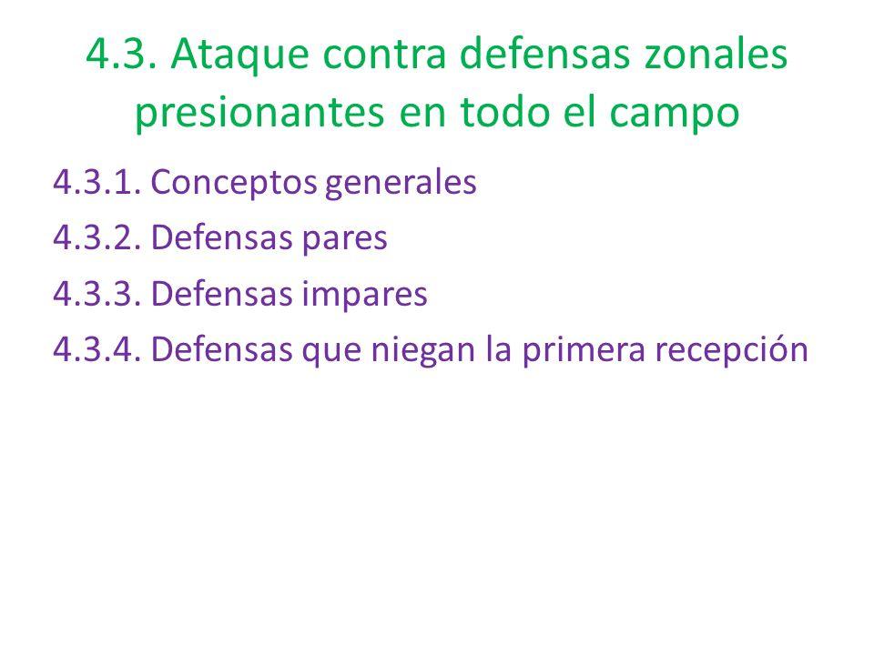 4.3. Ataque contra defensas zonales presionantes en todo el campo