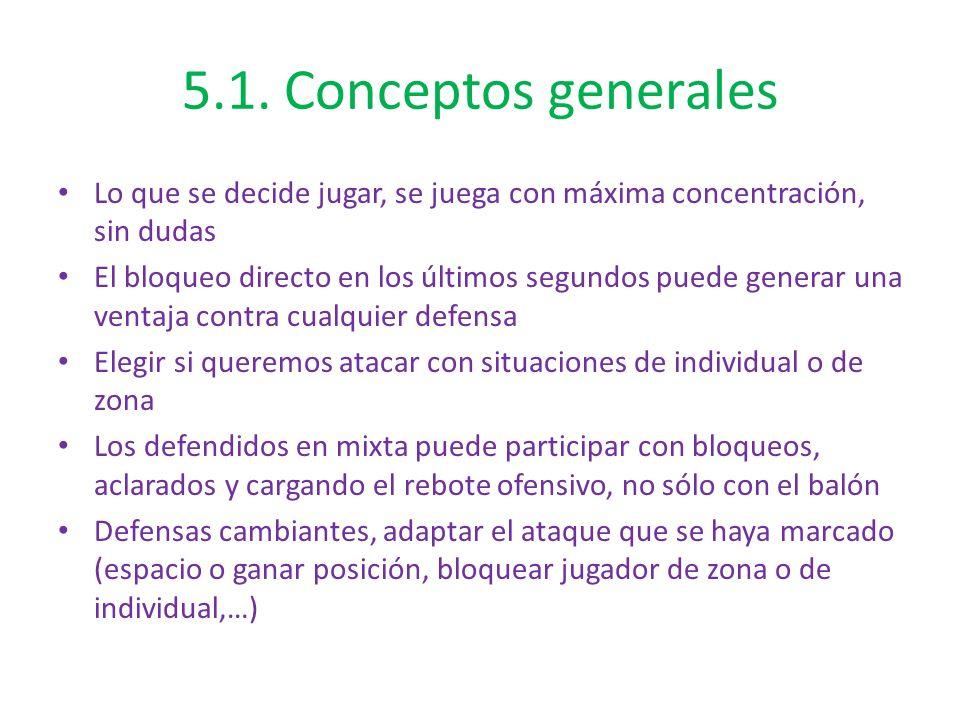 5.1. Conceptos generales Lo que se decide jugar, se juega con máxima concentración, sin dudas.