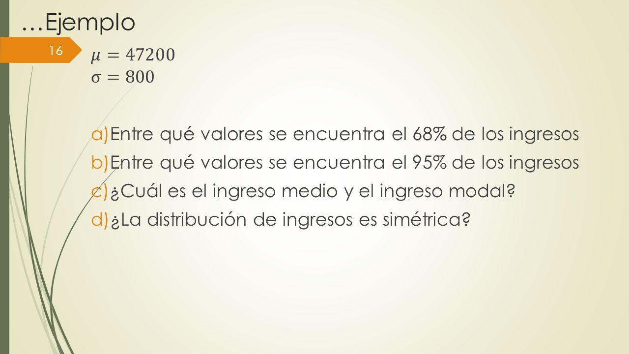 …Ejemplo 𝜇=47200. σ=800. Entre qué valores se encuentra el 68% de los ingresos. Entre qué valores se encuentra el 95% de los ingresos.