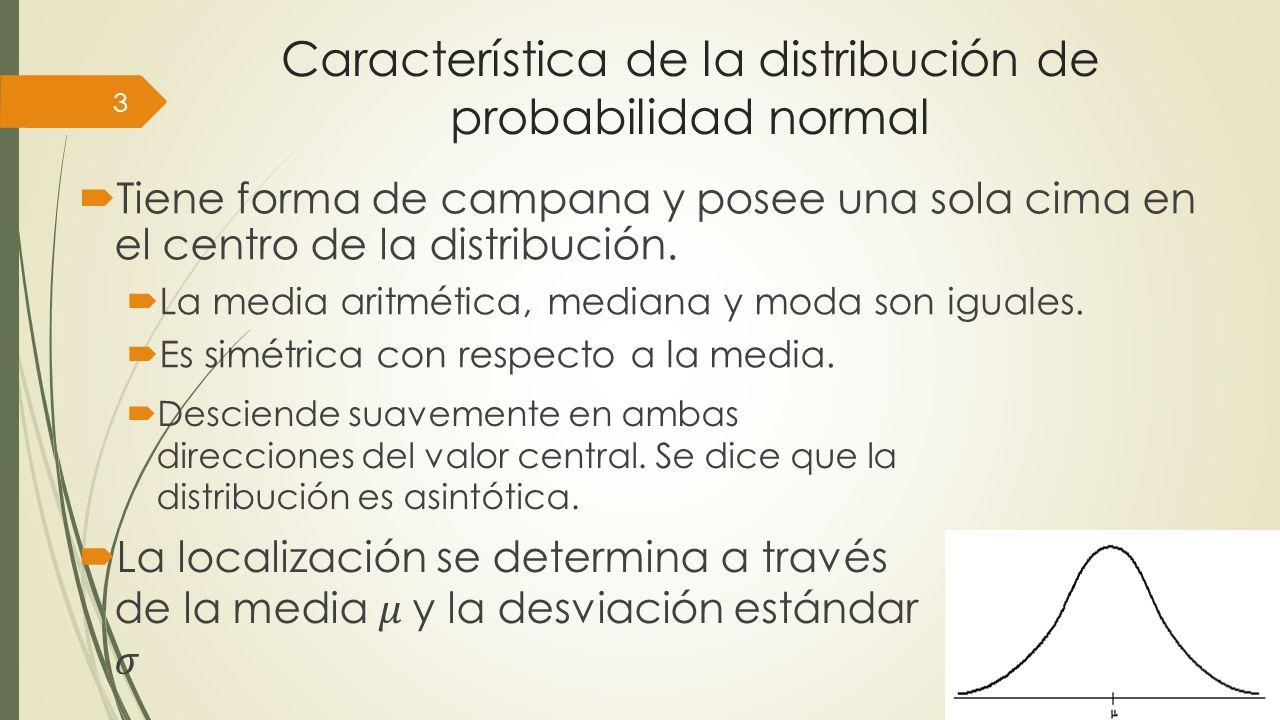 Característica de la distribución de probabilidad normal