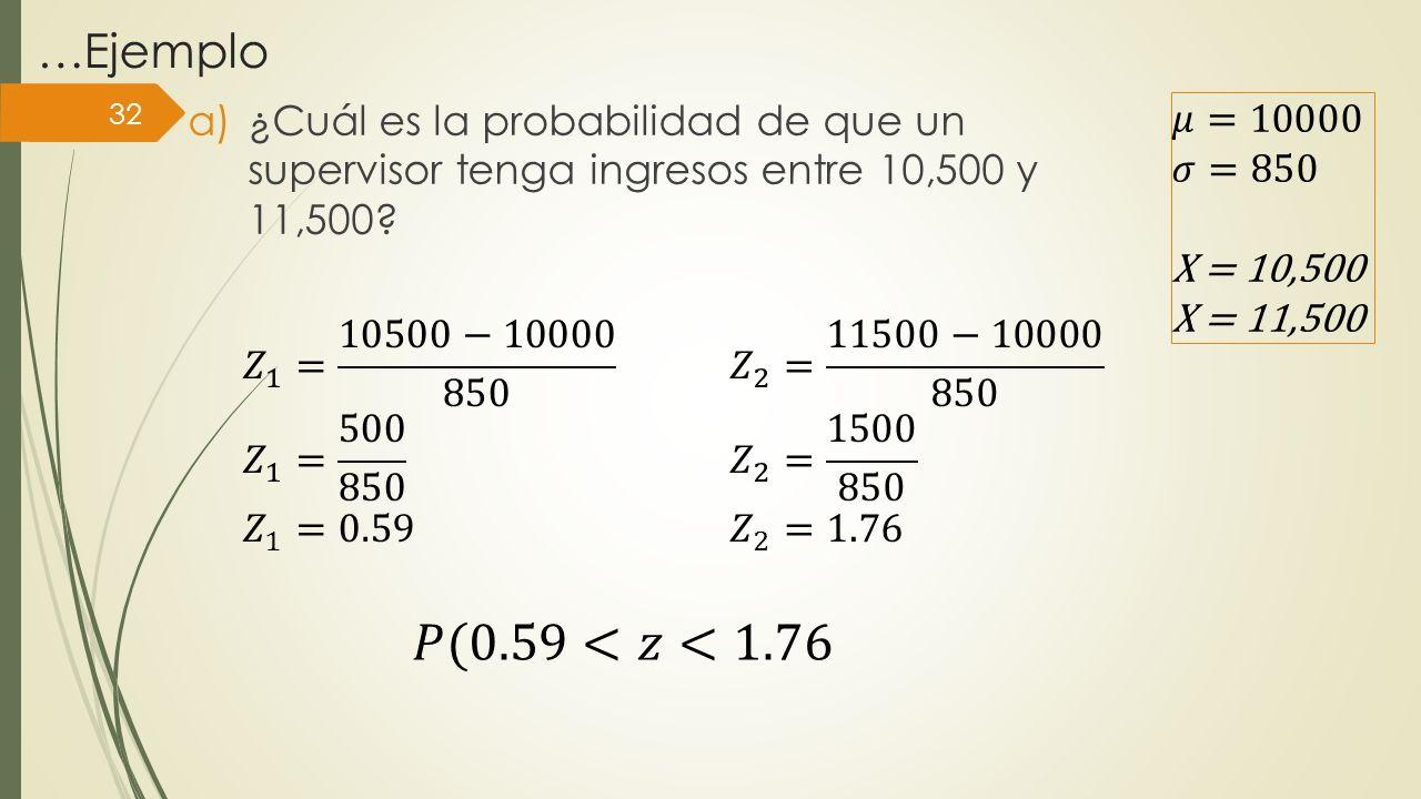 …Ejemplo ¿Cuál es la probabilidad de que un supervisor tenga ingresos entre 10,500 y 11,500 𝜇=10000.