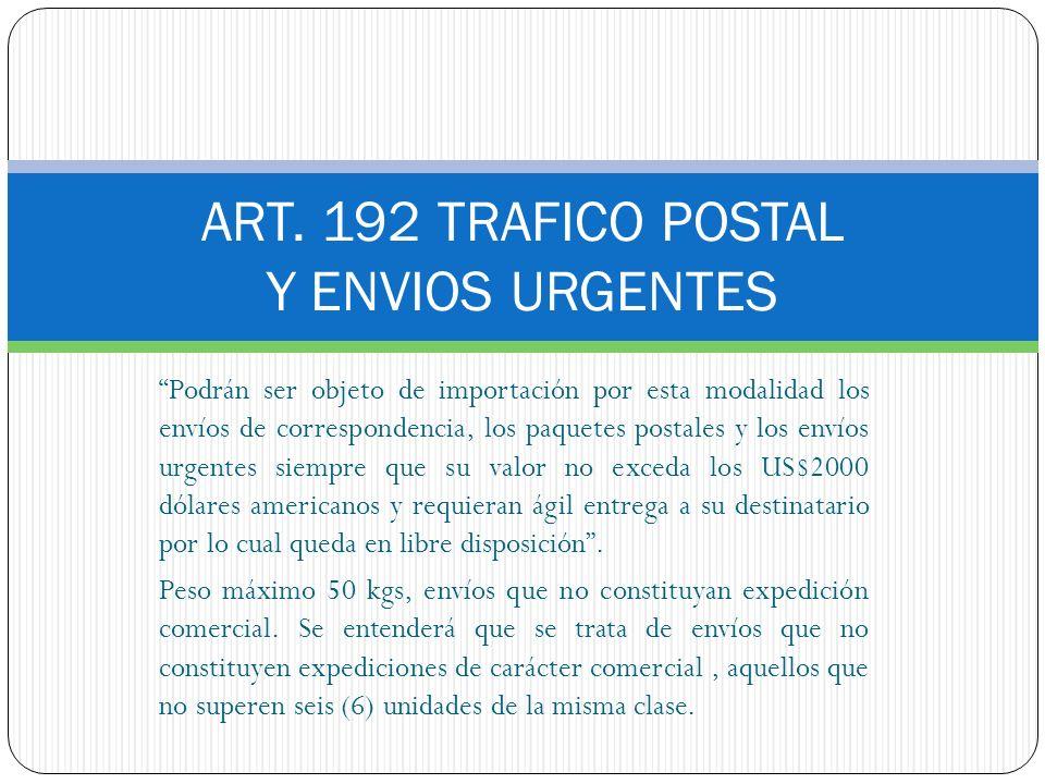 ART. 192 TRAFICO POSTAL Y ENVIOS URGENTES