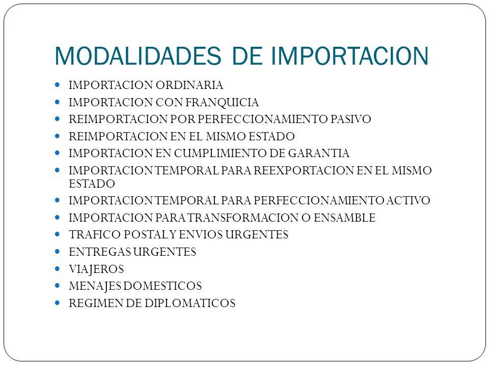 MODALIDADES DE IMPORTACION