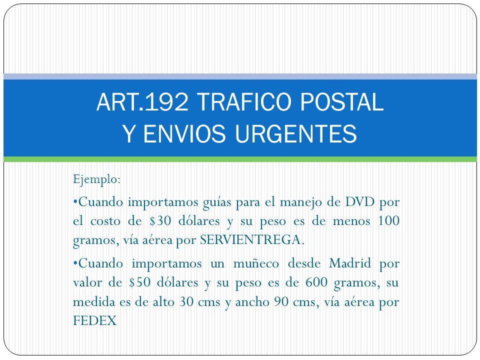 ART.192 TRAFICO POSTAL Y ENVIOS URGENTES