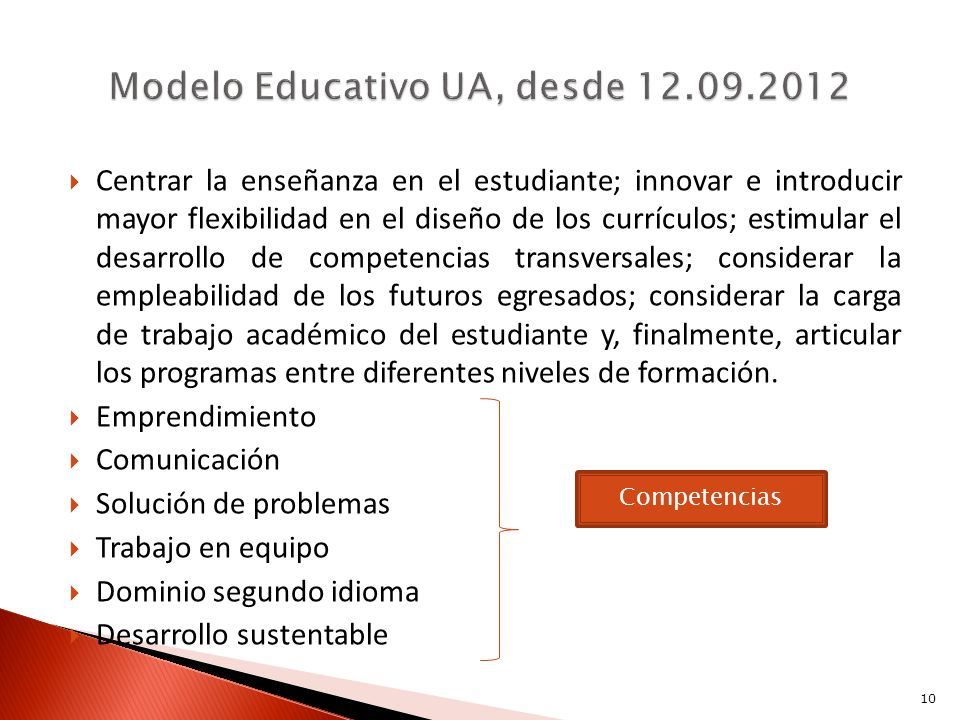 Modelo Educativo UA, desde 12.09.2012