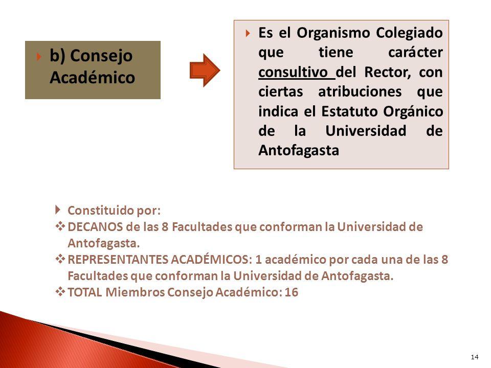 Es el Organismo Colegiado que tiene carácter consultivo del Rector, con ciertas atribuciones que indica el Estatuto Orgánico de la Universidad de Antofagasta