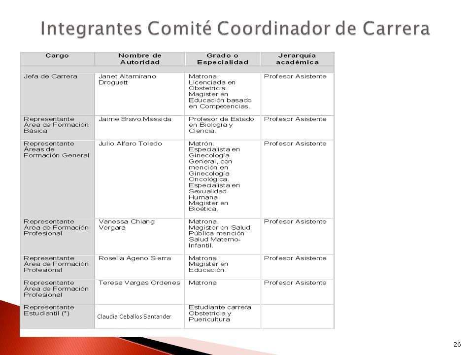 Integrantes Comité Coordinador de Carrera