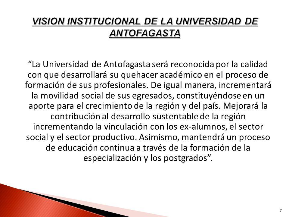 VISION INSTITUCIONAL DE LA UNIVERSIDAD DE ANTOFAGASTA
