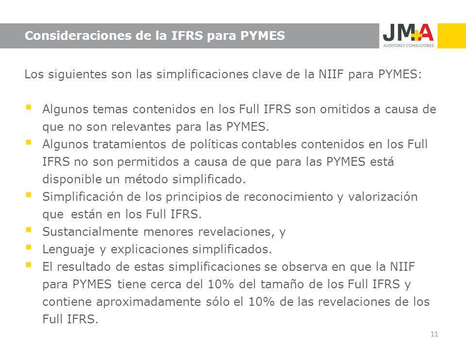 Consideraciones de la IFRS para PYMES