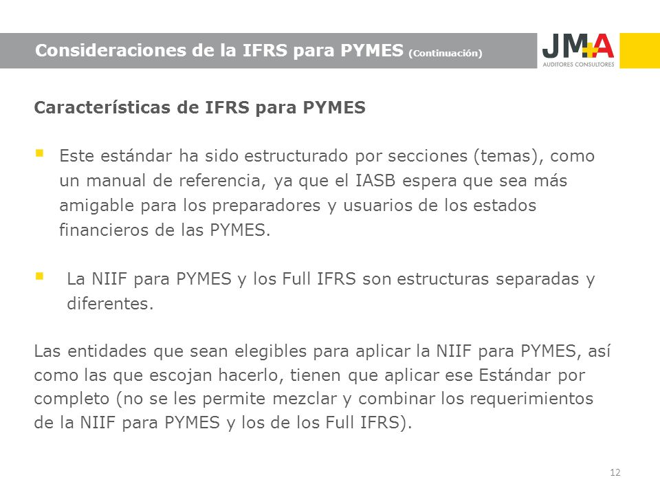 Consideraciones de la IFRS para PYMES (Continuación)