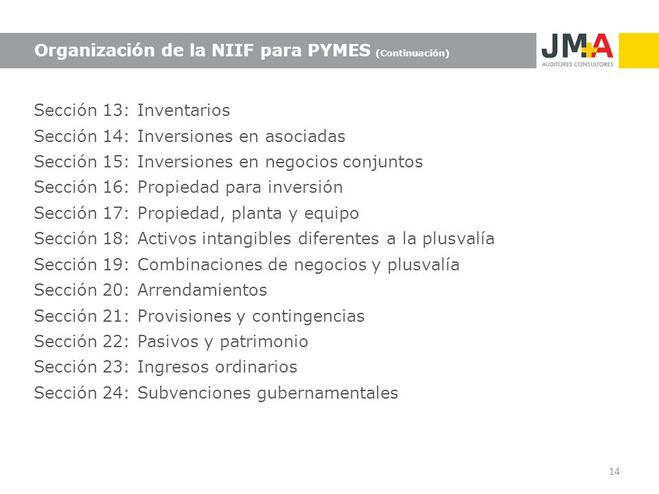 Organización de la NIIF para PYMES (Continuación)