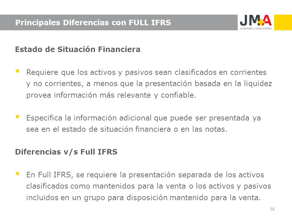 Principales Diferencias con FULL IFRS