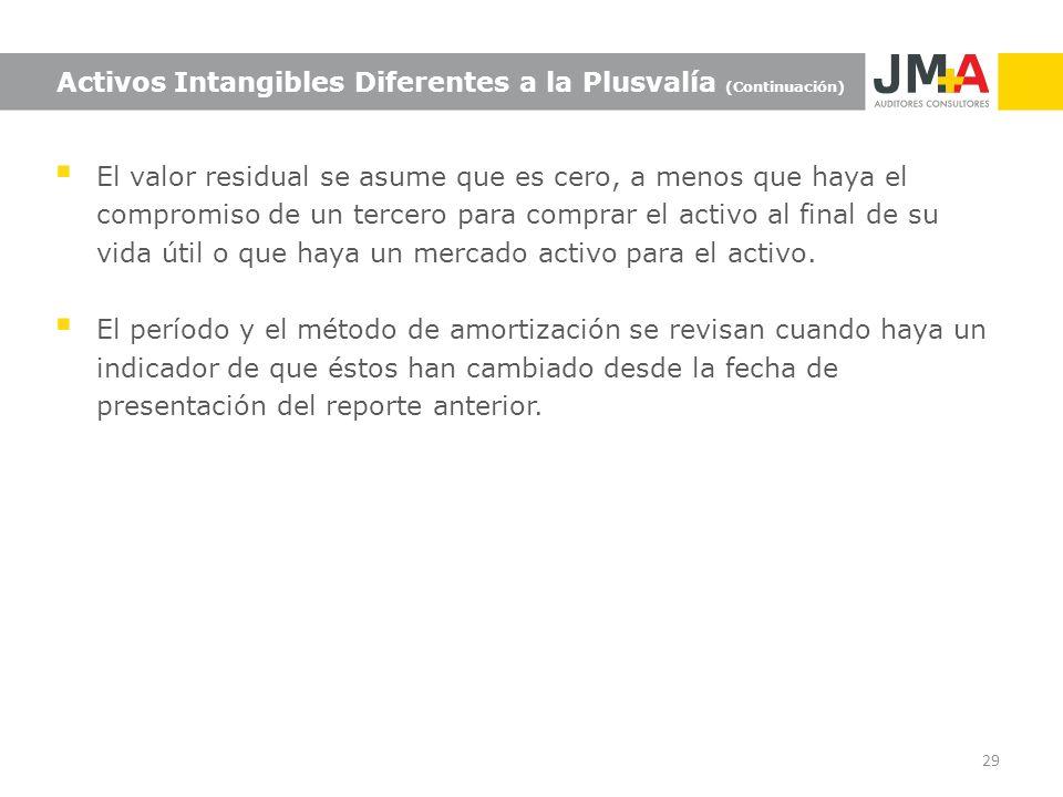 Activos Intangibles Diferentes a la Plusvalía (Continuación)