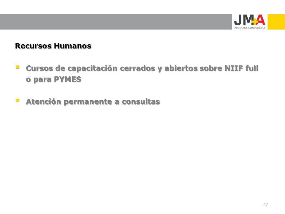 Recursos Humanos Cursos de capacitación cerrados y abiertos sobre NIIF full o para PYMES.