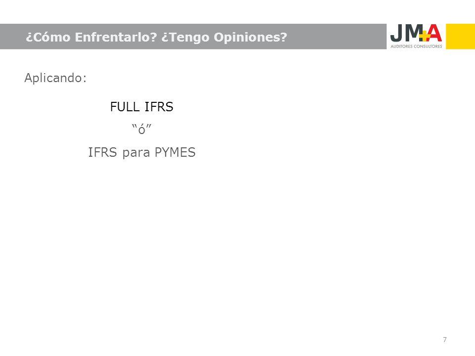 FULL IFRS ó IFRS para PYMES ¿Cómo Enfrentarlo ¿Tengo Opiniones
