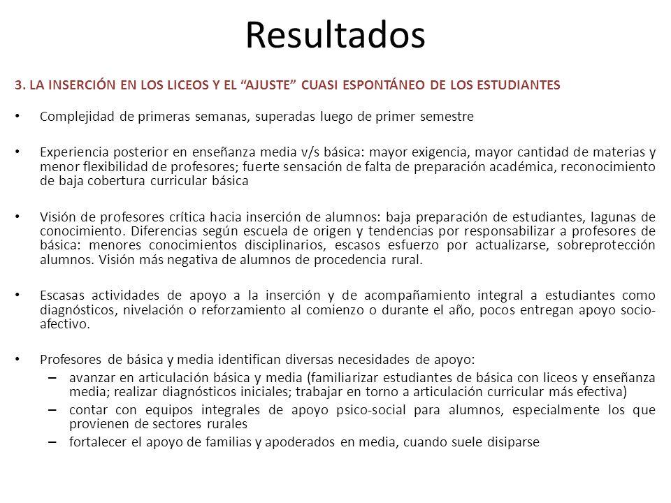 Resultados 3. LA INSERCIÓN EN LOS LICEOS Y EL AJUSTE CUASI ESPONTÁNEO DE LOS ESTUDIANTES.