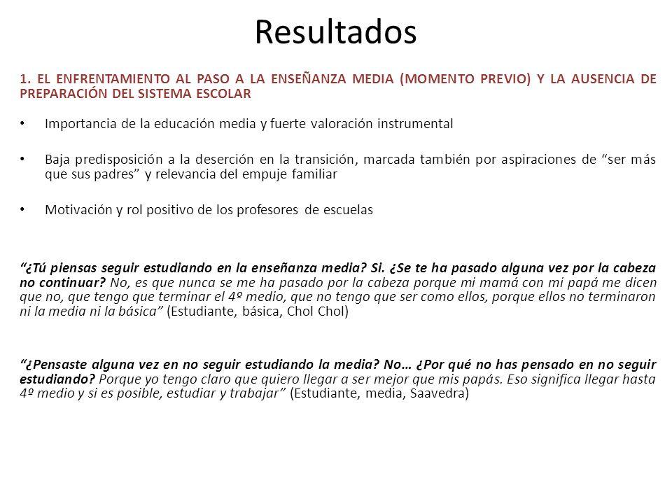 Resultados1. EL ENFRENTAMIENTO AL PASO A LA ENSEÑANZA MEDIA (MOMENTO PREVIO) Y LA AUSENCIA DE PREPARACIÓN DEL SISTEMA ESCOLAR.