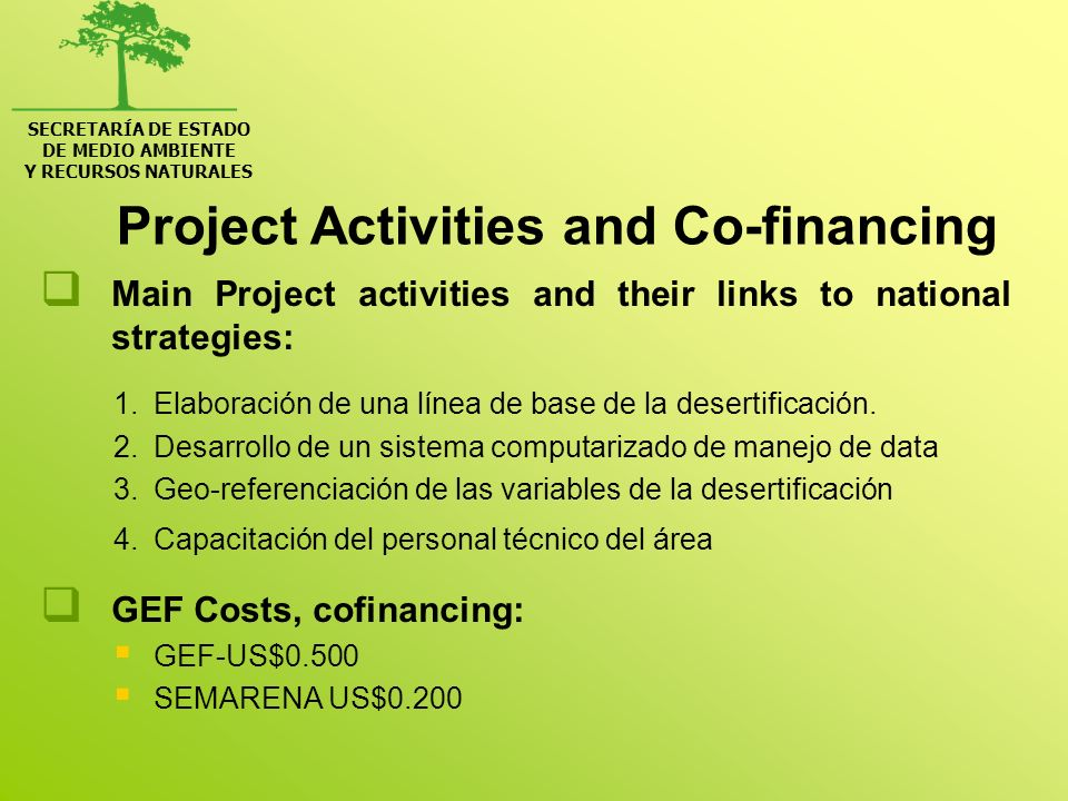 Project Activities and Co-financing