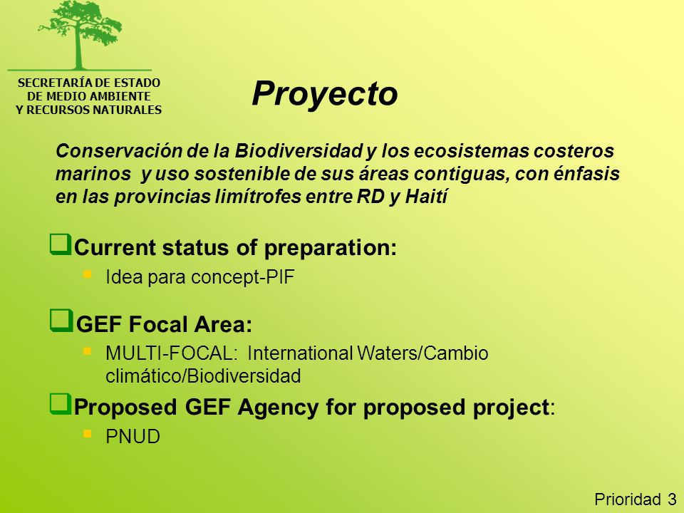 Proyecto Current status of preparation: GEF Focal Area: