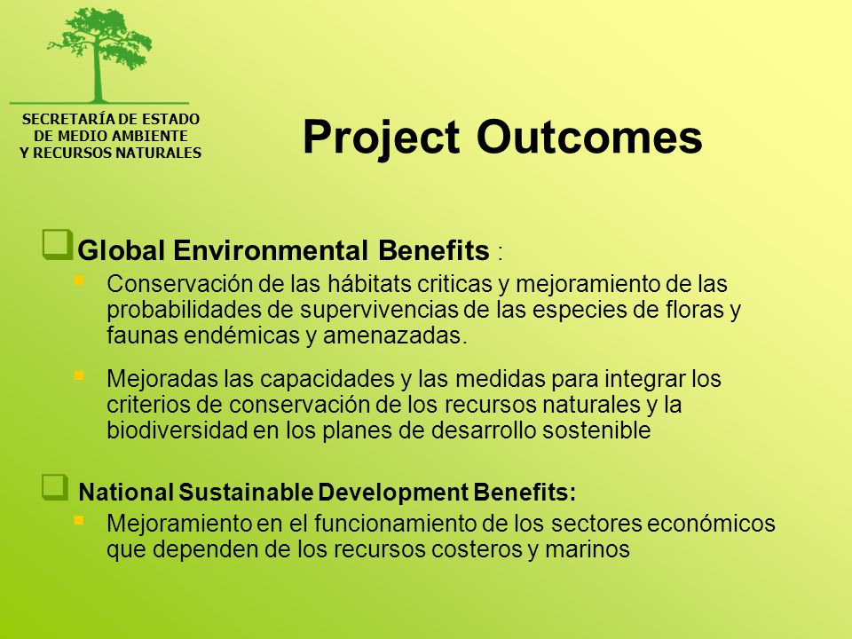 Project Outcomes Global Environmental Benefits :