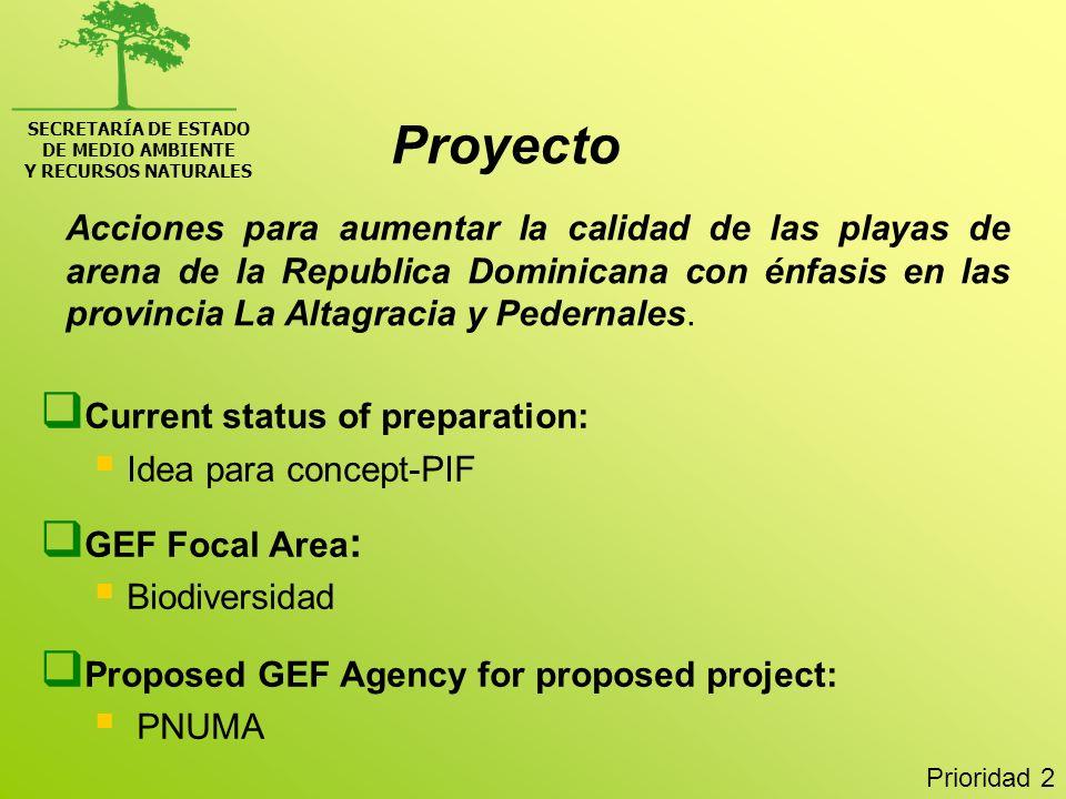 SECRETARÍA DE ESTADODE MEDIO AMBIENTE. Y RECURSOS NATURALES. Proyecto.