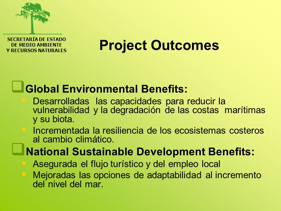 Project Outcomes Global Environmental Benefits: