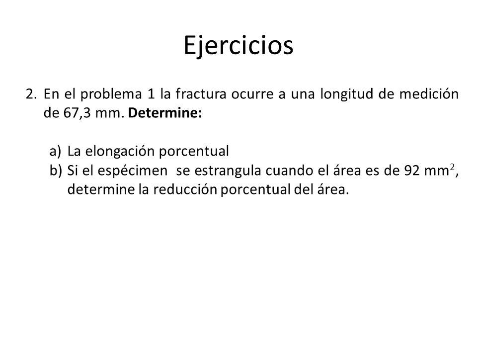 Ejercicios En el problema 1 la fractura ocurre a una longitud de medición de 67,3 mm. Determine: La elongación porcentual.