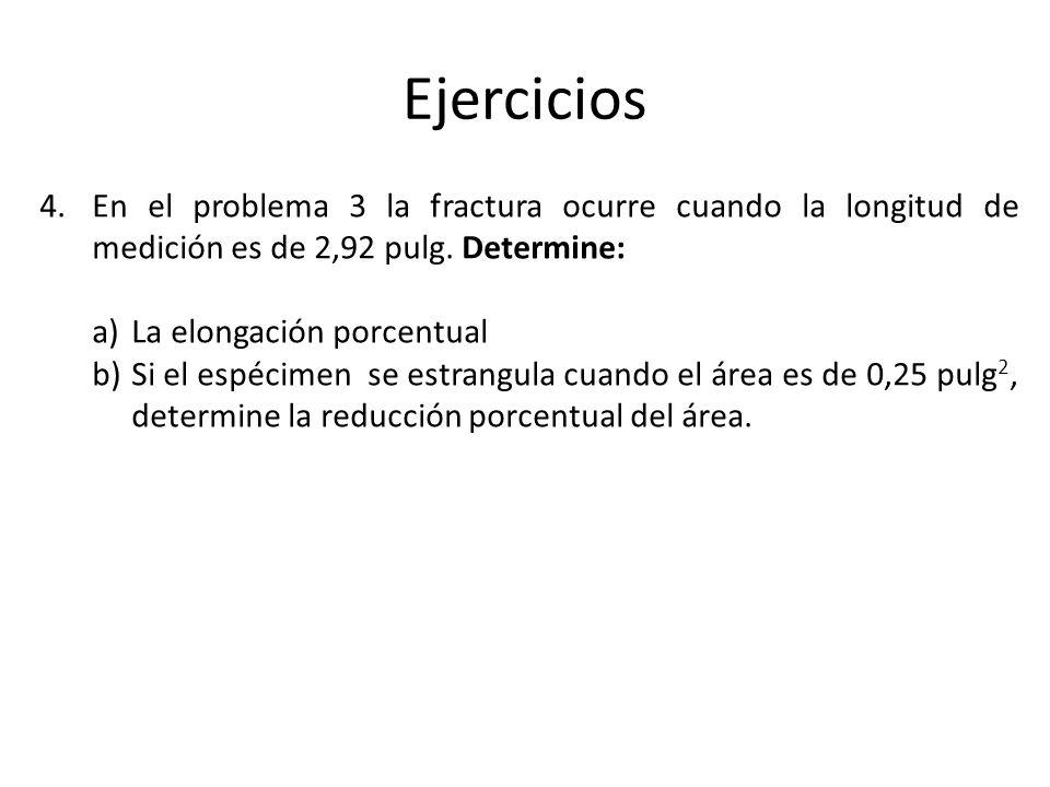 Ejercicios En el problema 3 la fractura ocurre cuando la longitud de medición es de 2,92 pulg. Determine:
