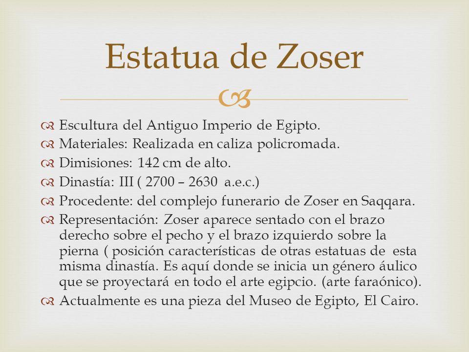 Estatua de Zoser Escultura del Antiguo Imperio de Egipto.