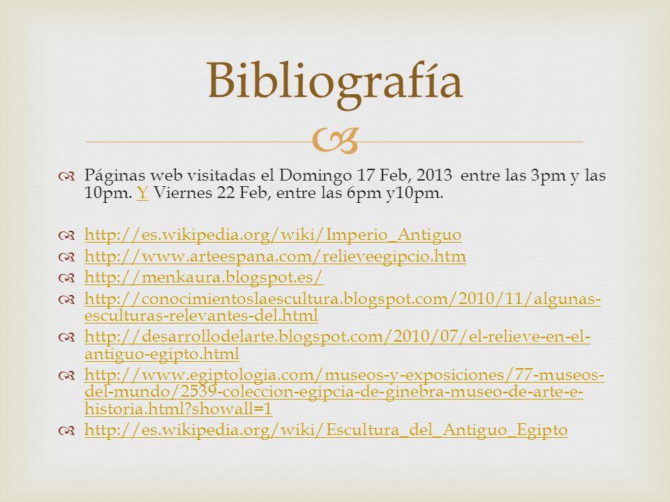 Bibliografía Páginas web visitadas el Domingo 17 Feb, 2013 entre las 3pm y las 10pm. Y Viernes 22 Feb, entre las 6pm y10pm.