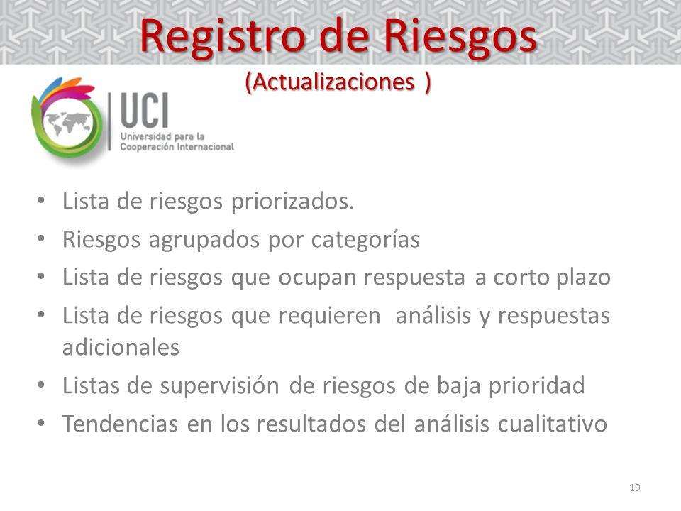 Registro de Riesgos (Actualizaciones )