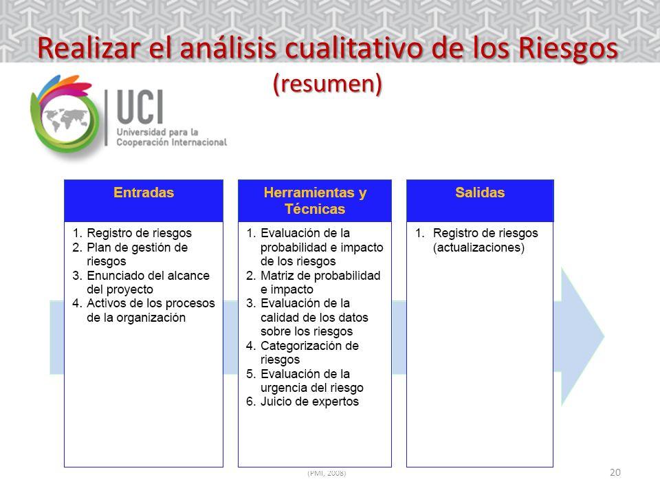 Realizar el análisis cualitativo de los Riesgos (resumen)