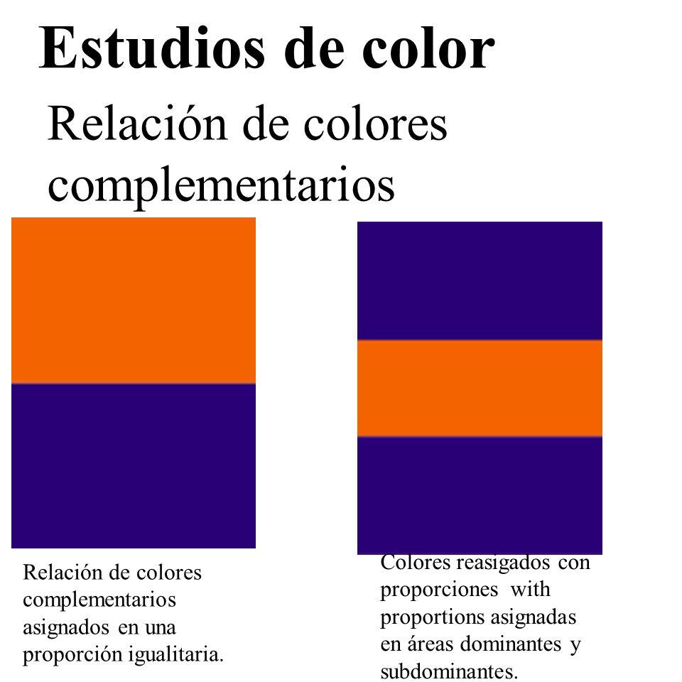 Estudios de color Relación de colores complementarios