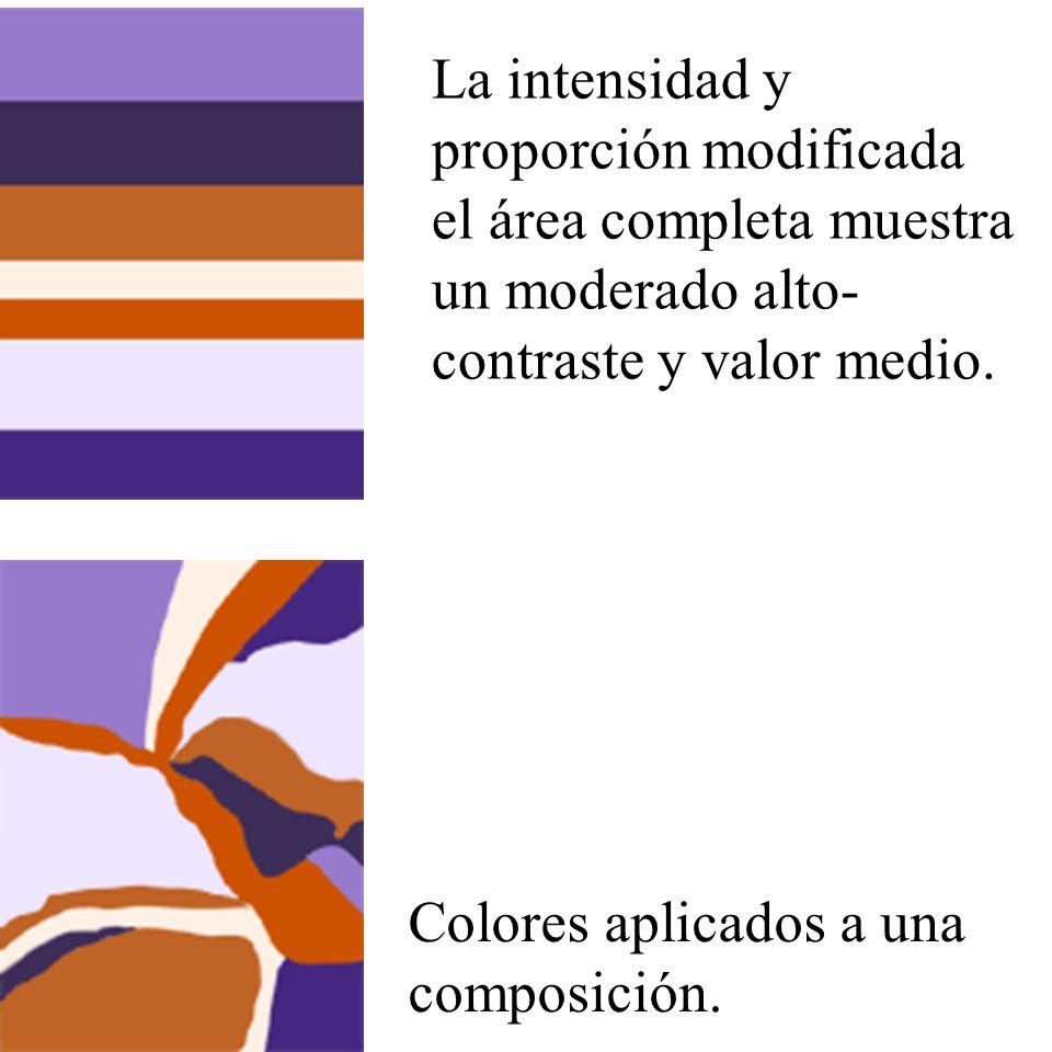 La intensidad y proporción modificada el área completa muestra un moderado alto- contraste y valor medio.