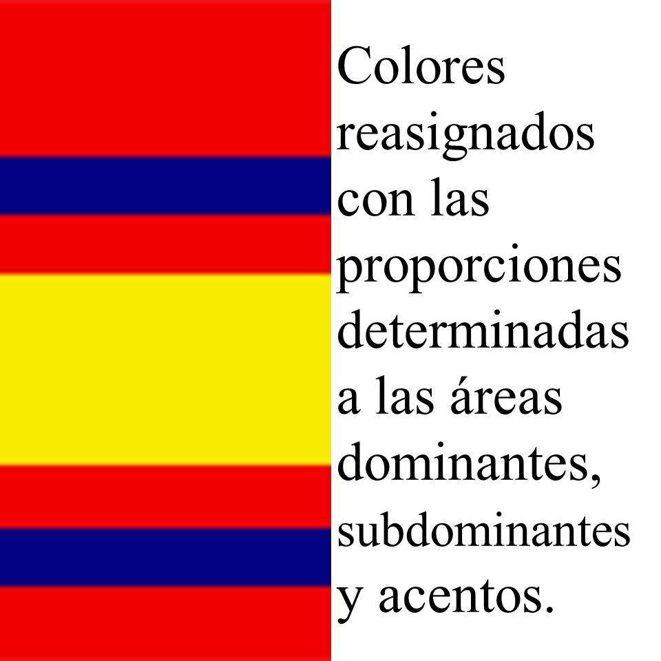 Colores reasignados con las proporciones determinadas a las áreas dominantes, subdominantes y acentos.