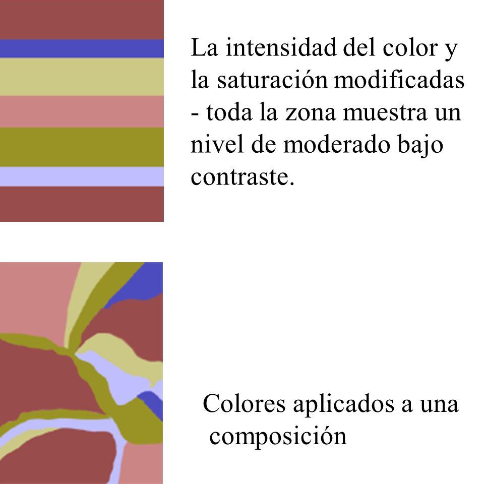 La intensidad del color y la saturación modificadas - toda la zona muestra un nivel de moderado bajo contraste.