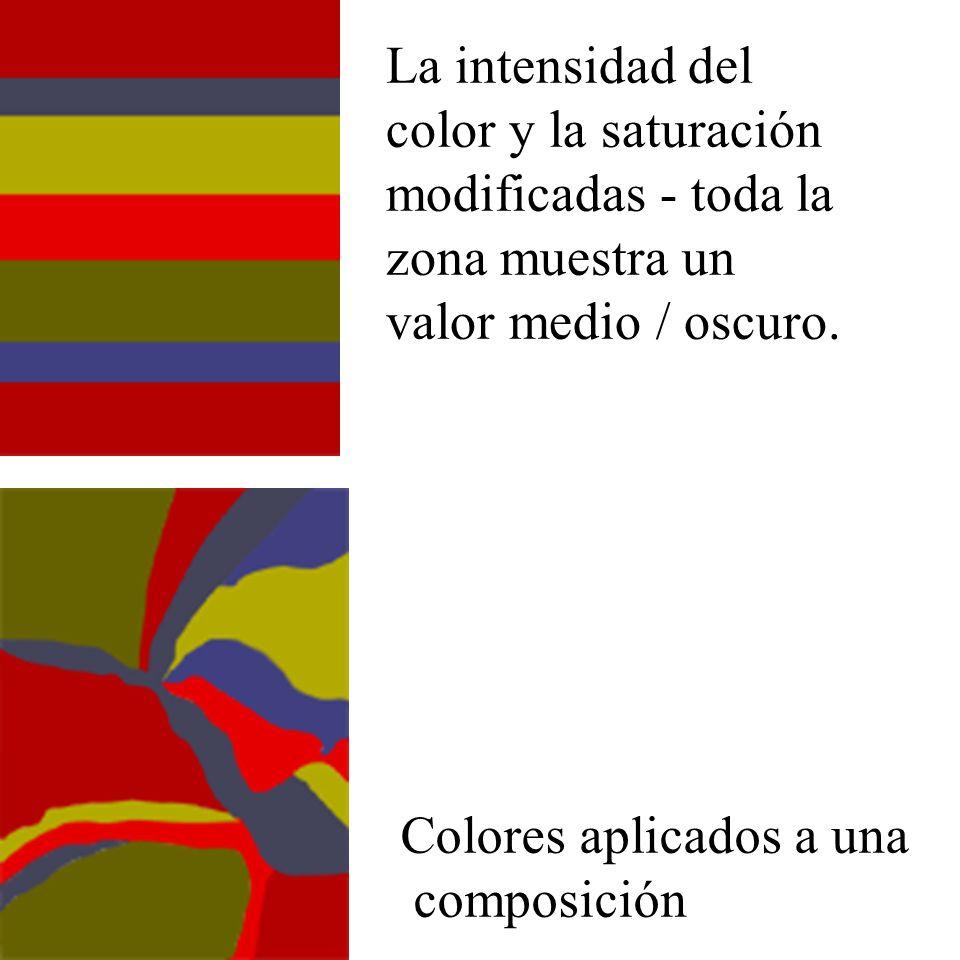 La intensidad del color y la saturación modificadas - toda la zona muestra un valor medio / oscuro.
