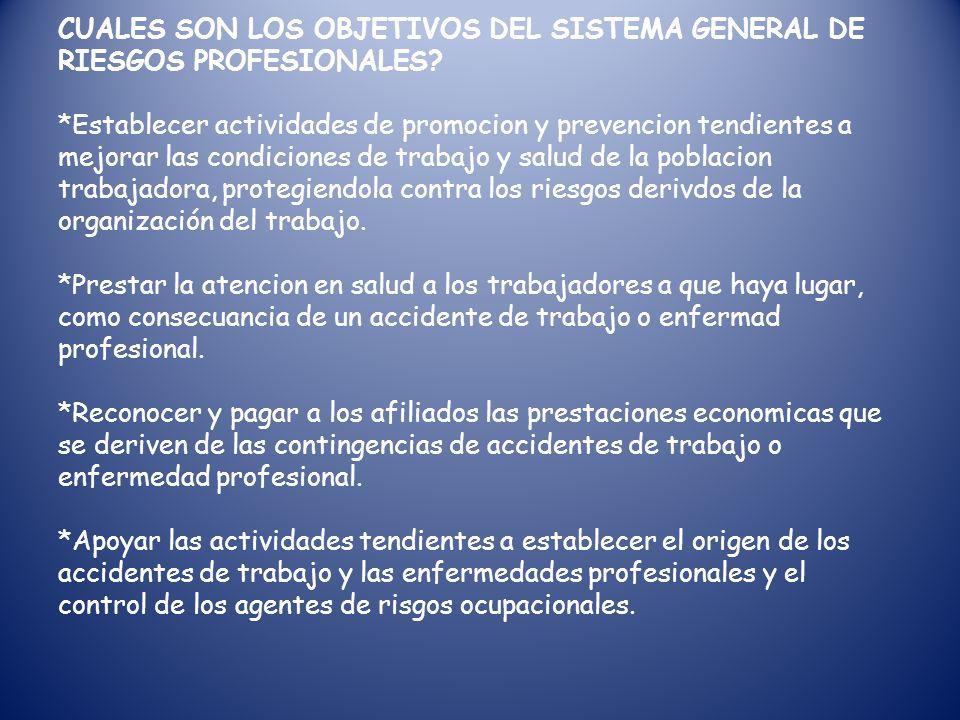 CUALES SON LOS OBJETIVOS DEL SISTEMA GENERAL DE RIESGOS PROFESIONALES