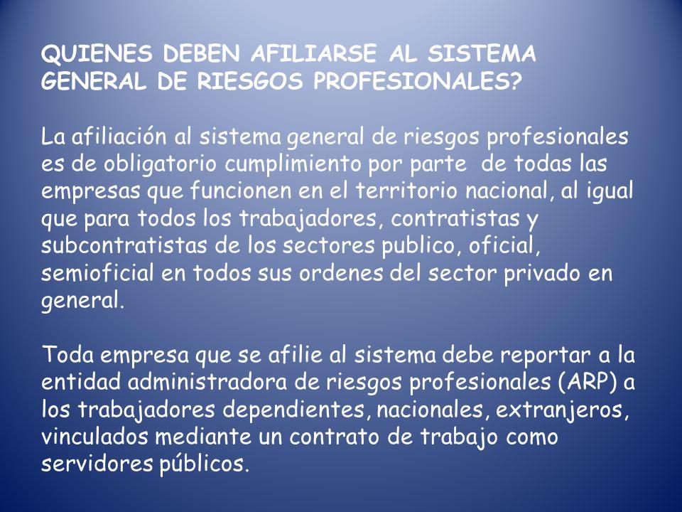 QUIENES DEBEN AFILIARSE AL SISTEMA GENERAL DE RIESGOS PROFESIONALES