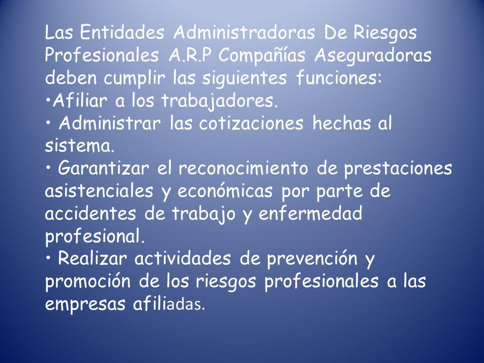 Las Entidades Administradoras De Riesgos Profesionales A. R