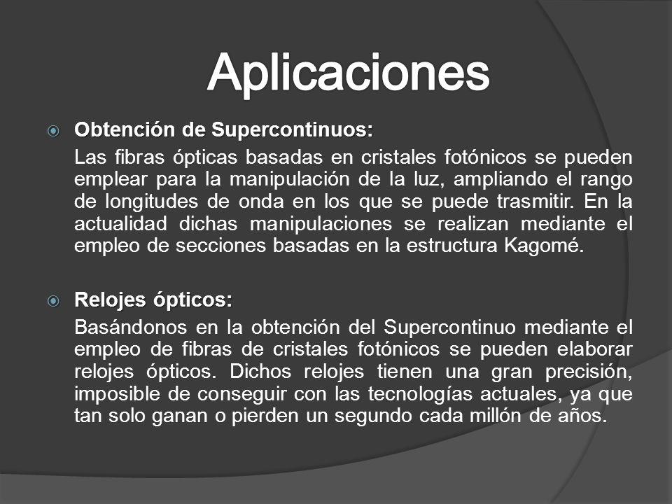 Aplicaciones Obtención de Supercontinuos:
