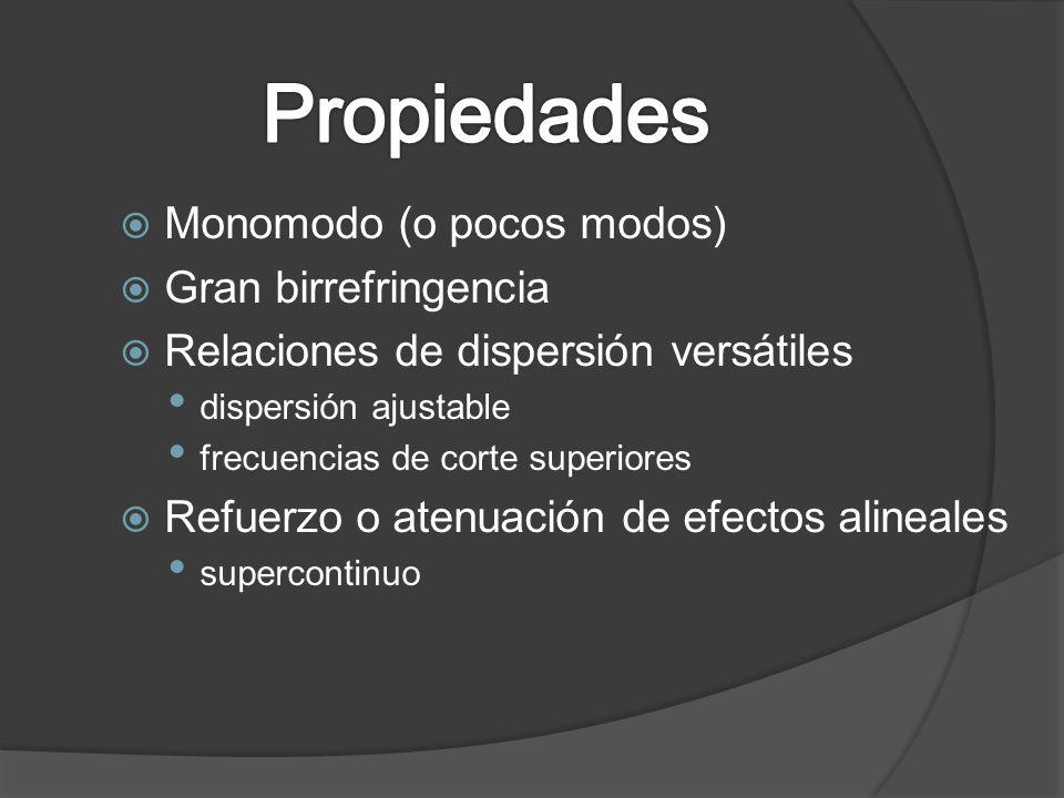 Propiedades Monomodo (o pocos modos) Gran birrefringencia