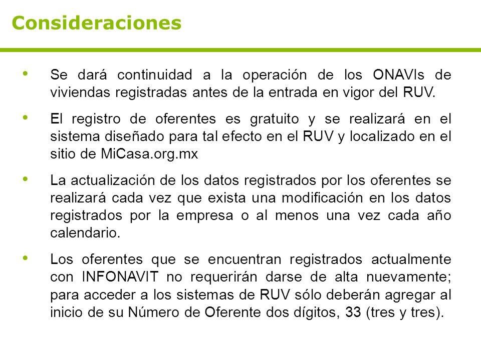 Consideraciones Se dará continuidad a la operación de los ONAVIs de viviendas registradas antes de la entrada en vigor del RUV.