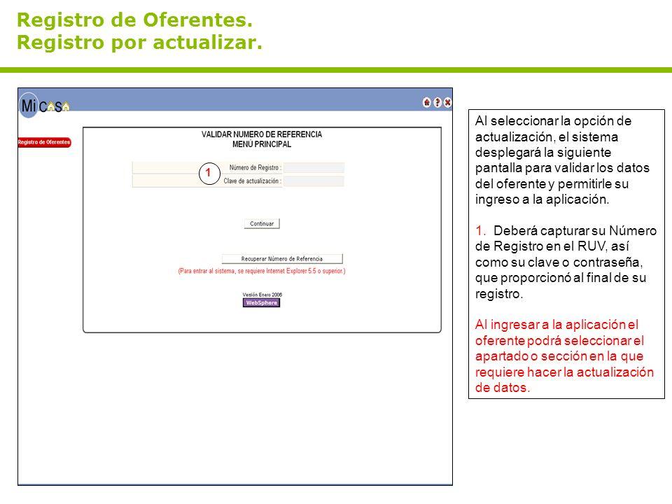 Registro de Oferentes. Registro por actualizar.