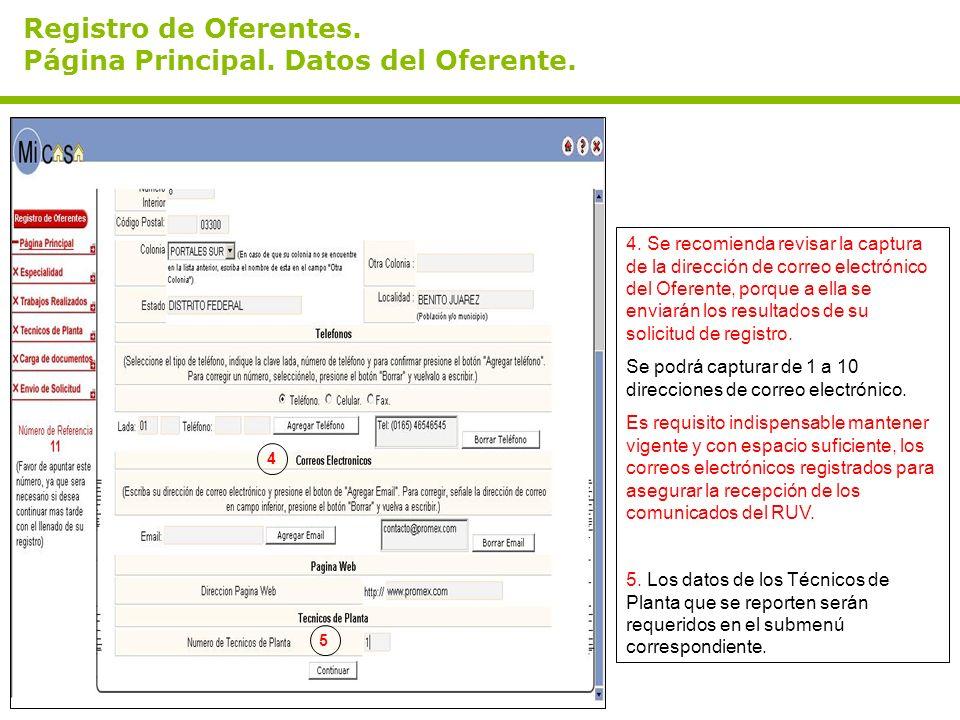 Registro de Oferentes. Página Principal. Datos del Oferente.
